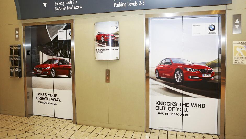 Elevator door decals. Custom wall decals printed.