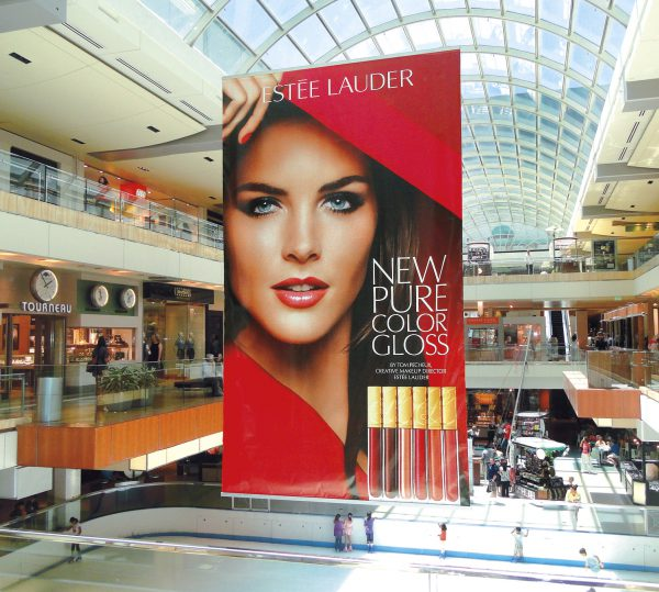 Shopping Centre Ceiling Display Systems. Hanging vinyl banners