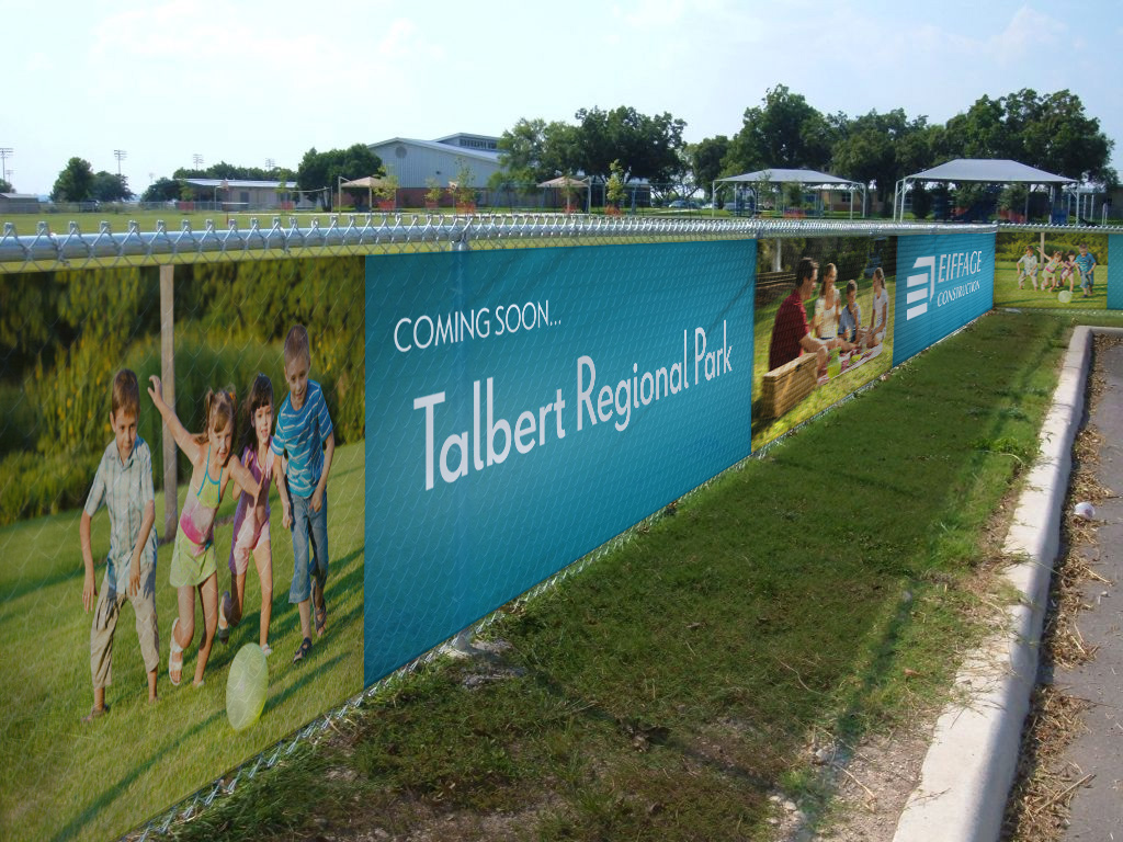 Council Banners - Fence wrap installed at Talbert Regional Park on a chain link fence