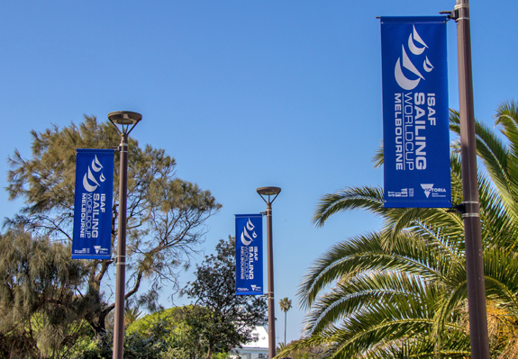 Sailing World Cup light pole banner installation