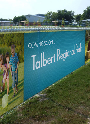 Fence mesh wrap signs printing for Talbert Regional Park
