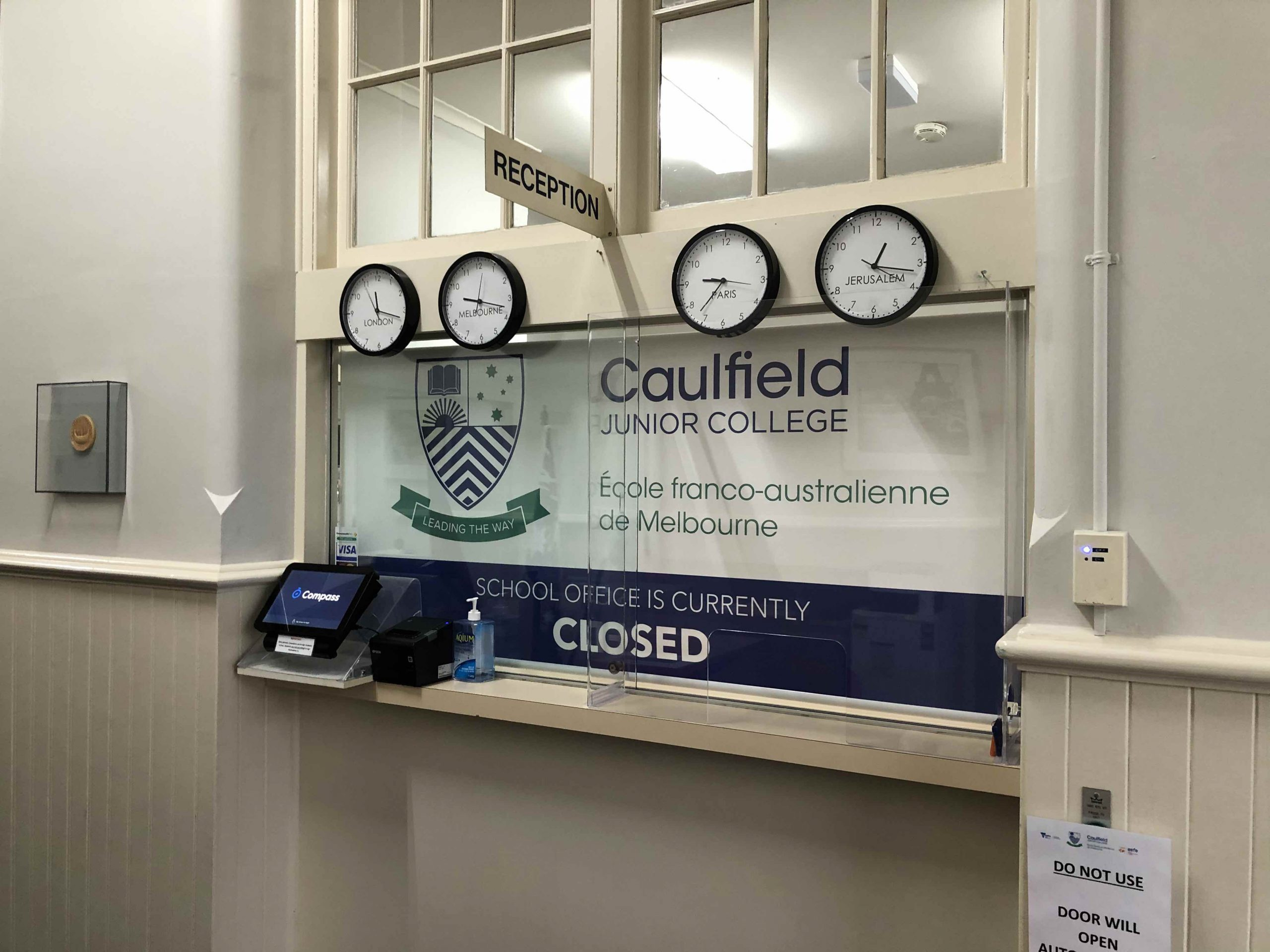 Caulfield Junior College with acrylic germ guard at reception