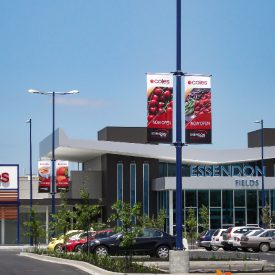 Coles Supermarkets use our light pole banner brackets