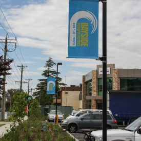 Bayside business District light pole banners with light pole banner brackets