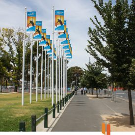 Bannersaver light pole banner brackets used with light pole banners for the Australian Open Tennis