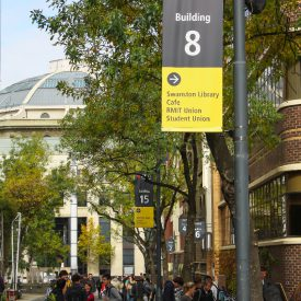 RMIT use Bannersaver banner brackets to increase the life of light pole advertising banners & flags