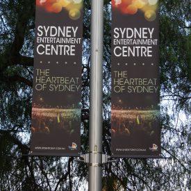 Sydney Entertainment Centre use our light pole banner brackets