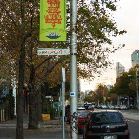 Bannersaver Banner Brackets on light poles in Port Melbourne