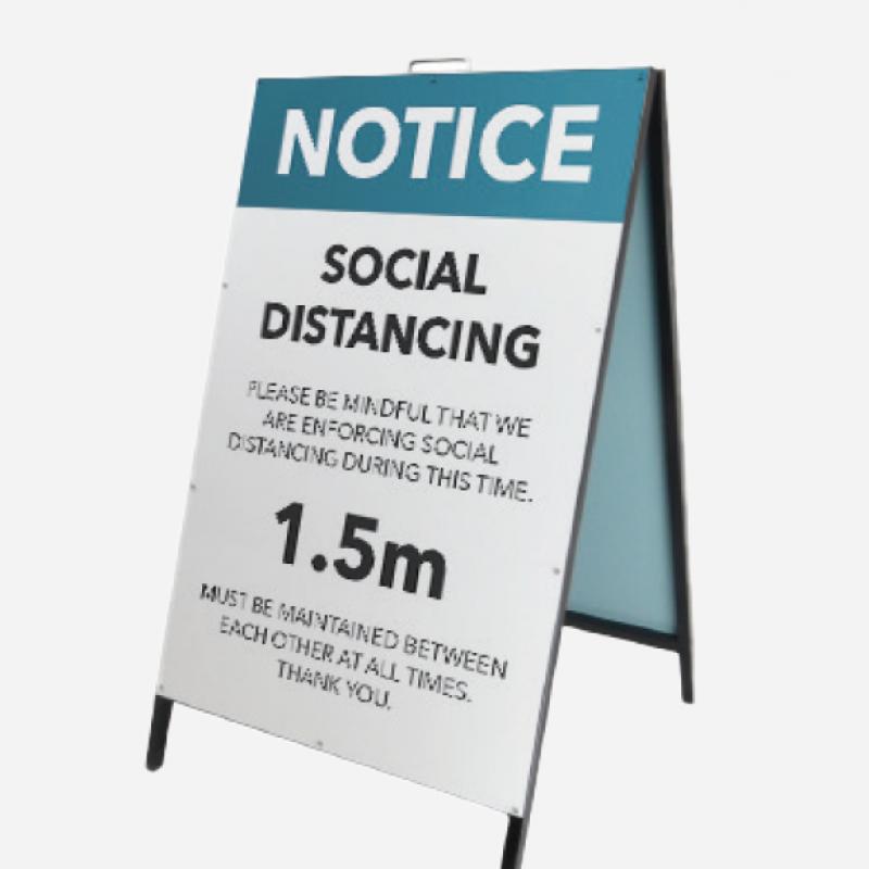 Social distancing A Frame sign