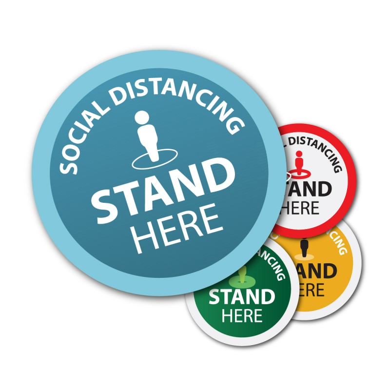Social distancing floor stickers and decals